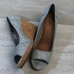 TOMS Gray Peep Toe Wedge